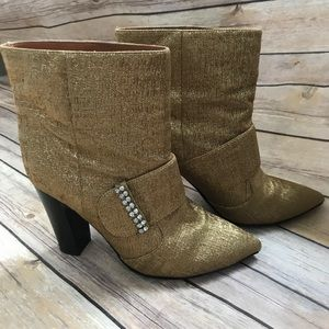See by Chloe metallic gold and rhinestone booties